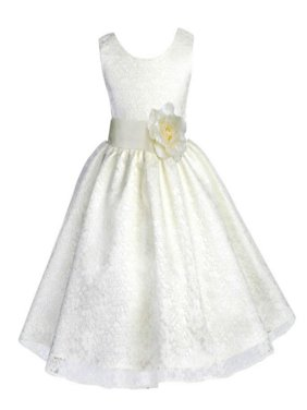Ekidsbridal Floral Lace Overlay Flower Girl Dress Christmas Bridesmaid Wedding Pageant Toddler Recital Easter Holiday First Communion Birthday Baptism Special Occasions Formal Events 163T