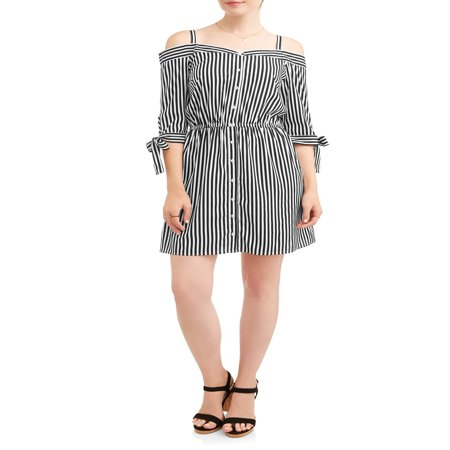 Bengal Stripe Striped Dress Shirt - Women's Stripe Off the Shoulder Shirt Dress