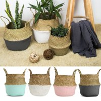 Asewin Plant Basket,Foldable Rattan Straw Basket Flower Pot Hanging Wicker Storage Basket Garden Accessories