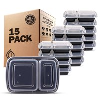 Freshware 15-Pack 2 Compartment Bento Lunch Boxes with Lids - Stackable Reusable Microwave Dishwasher & Freezer Safe - Meal Prep Portion Control 21 Day Fix & Food Storage Containers (25oz), YH-2X15