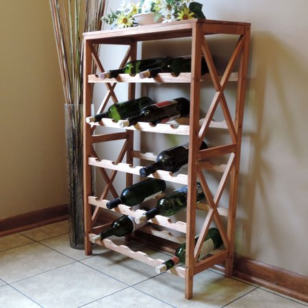 Rustic Wine Rack Space Saving Free Standing Wine Bottle Holder For