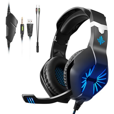 Gaming Headset for Xbox One, PS4, , PC - Surround Sound, Noise Reduction Game Earphone with Mic - Easy Volume Control - 3.5MM Jack for Smart Phone, Laptops, Computer(Blue) ()