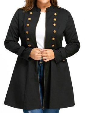 AKFashion Women's Plus Size Long Sleeve Stand Neck Vintage Coat Blouse Tops