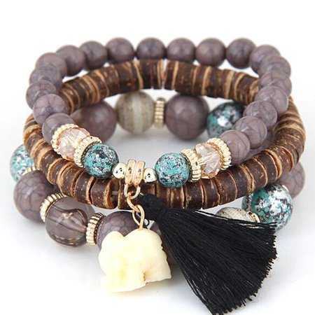 Series Womens Bracelet (Christmas Clearance! Women Wood Beads Bracelets Boho Small Elephant Charm Bracelets Set Vintage Style Jewelry)