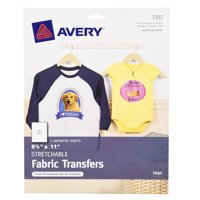 Avery Stretchable Fabric Transfers for Inkjet Printers, 5-Pack