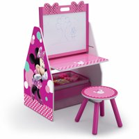 Disney Minnie Mouse Deluxe Kids Art Table, Easel, Desk, Stool & Toy Organizer by Delta Children