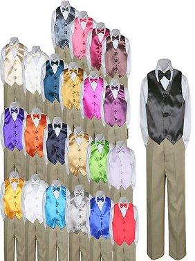 23 Color 4pc Boys Suits Vest Bow Tie Set Baby Toddler Kid Formal Khaki Pants S-7