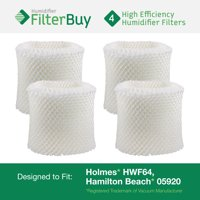 "4 - HWF64 Holmes, Sunbeam & Bionaire Humidifier Wick Filters. Fit units requiring filter ""B"". Designed by FilterBuy in the USA."
