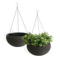 "Algreen Wicker 10"" Hanging Basket Planter, Self-Watering, Rattan Coffee, 2 PACK"