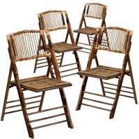 Flash Furniture 4pk American Champion Bamboo Folding Chair