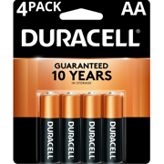 Duracell 1.5V Coppertop Alkaline AA Batteries, 4 Pack