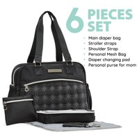 SoHo diaper bag Lincoln 6 pieces nappy tote multifuncation bag for baby mom dad stylish unisex large capacity durable bag includes changing pad stroller straps dipaer dispenser Black