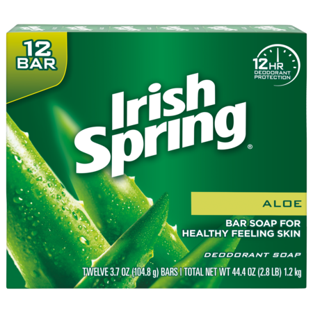 Irish Spring Aloe Vera Bar Soap, 3.7 Ounce, 12 Bar Pack ()