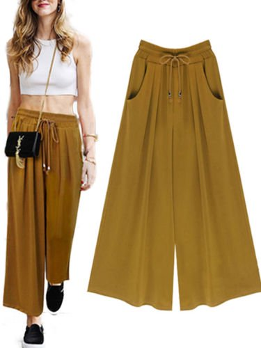- Womens Wide Leg High Elastic Waist Casual Cropped Pants Loose Palazzo Trousers