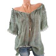 6a99febc4c21 S-5XL Plus Size Loose Casual Top Women Lace Crochet Short Sleeve  Semitransparent Off Shoulder