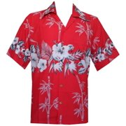 875a73655 Hawaiian Shirt 35 Mens Bamboo Tree Print Beach Aloha Party Holiday Red XL