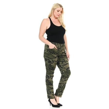 Sweet Look Womens Plus Size Stretch Jeans Army Style Camo Camouflage Skinny Denim Pants (Army Camo)