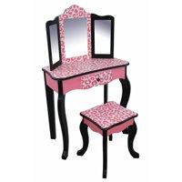 Teamson Kids - Fashion Leopard Prints Gisele Vanity Table & Stool Set - Pink / Black
