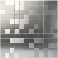 "Art3d Peel and Stick Kithen Backsplash Tile Metal Mosaic Bathroom Backsplash, 12"" x 12"" Silver Aluminium Tile"