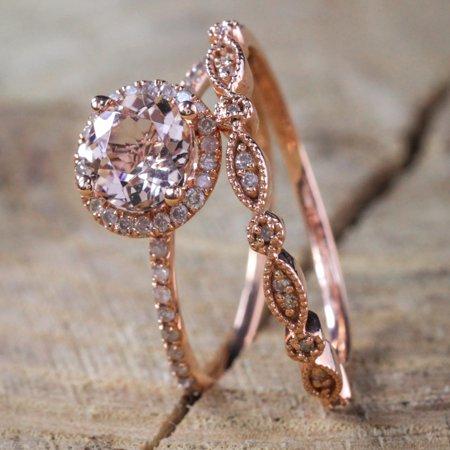 White Gold Ladies Bridal Rings - Antique Vintage Design Milgrain 2 carat Round Morganite and Diamond Halo Bridal Wedding Ring Set in Rose Gold for Women