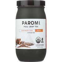 Paromi Tea, Cinnamon Chai, Organic and Fair Trade Rooibos, Full-Leaf, 15 Ct, 1.6 Oz