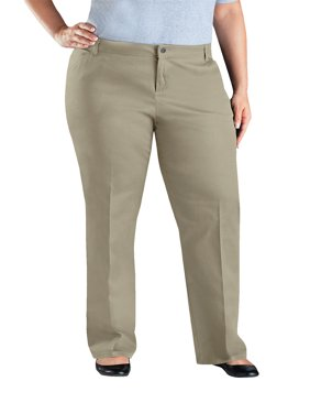 Genuine Dickies Women's Plus Size Mid rise Relaxed Fit Straight Leg Twill Pants