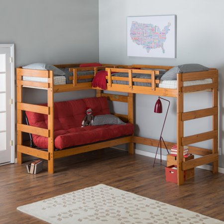 Woodcrest Heartland Futon Bunk Bed With Extra Loft Honey Pine