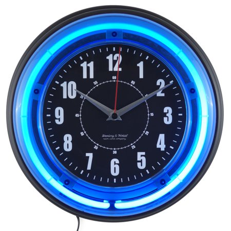 "Sterling and Noble 11"" Vibrant Blue Neon Analog Wall Clock"