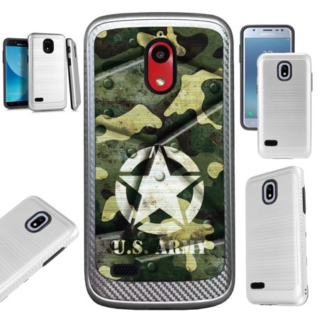 For Coolpad Illumina (2018) Case Brushed Metal Texture Hybrid TPU Artillery Phone Cover (US Army Metal Shell)