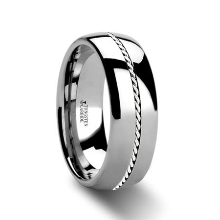 Palladium Oval Ring - Baldwyn Braided Palladium Inlay Domed Tungsten Ring