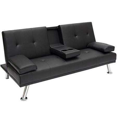 Best Choice Products Modern Entertainment Futon Sofa Bed Fold Up & Down Recliner Couch With Cup Holders Furniture ()