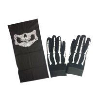 Skull Skeleton Mechanic Gloves & Half Skull Face Mask Heavy Duty Biker Mechanics Glove Plus Motorcycle Stretchable Riding Mask (Small)