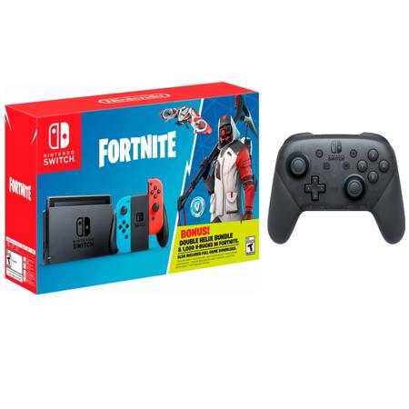 Bonus Bundle - Nintendo Switch Fortnite Bonus Epic Bundle: Fortnite Double Helix Set, 1000 V-Bucks, Nintendo Switch Pro Controller and Nintendo Switch 32GB Console with Neon Red and Neon Blue Joy-Con