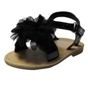 d27210c2e89f1 Stepping Stones Little Girls Gladiator Black Sandals with Flower and Back  Straps Girls Strappy Sandals For