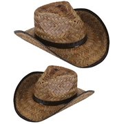 2ba7e3e32885a New Men s Women s Stained Brown Woven Straw Cowboy Hat ...