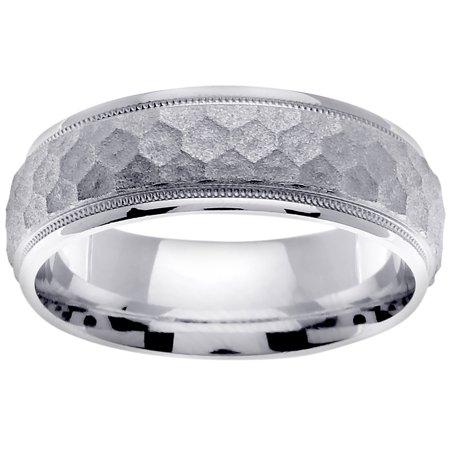 White Gold Flat Top (14K White Gold Flat Top Modern Comfort Fit Women's Wedding Band (7mm) )