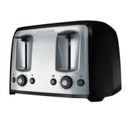 BLACK+DECKER 4-Slice Toaster with Extra-Wide Slots, Black/Silver, TR1478BD