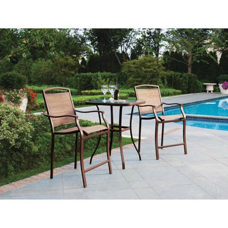 Mainstays Sand Dune 3-Piece High Outdoor Bistro Set, Tan ()