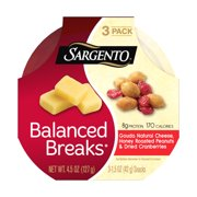 Sargento, Balanced Breaks, Gouda Natural Cheese/Honey Roasted Peanuts/Dried Cranberries Snacks, 1.5 Oz., 3 Count