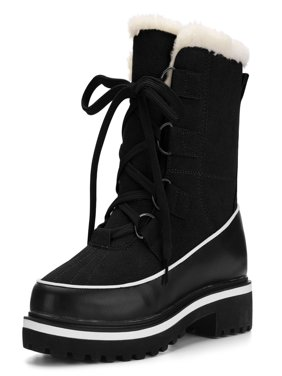 Women Contrast PU Panel Fleece Lining Lace Up Snow Boots