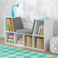 KidKraft Kids Bookshelf with Reading Nook, Multiple Colors