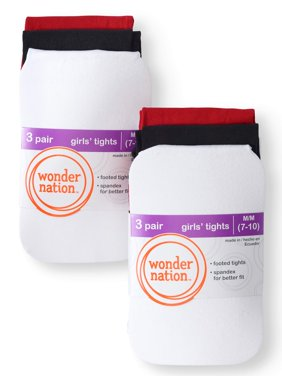 Wonder Nation Opaque Tights, 6 Pairs (Little Girls & Big Girls)