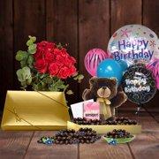 102nd Birthday Gift Basket Plush Teddy Bear Premium California Vegan Chocolate Coated Blueberries 1