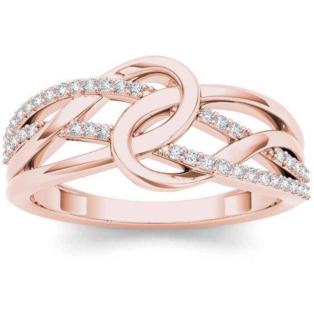 - 1/6 Carat T.W. Diamond Interlocking Loop 10kt Rose Gold Fashion Ring