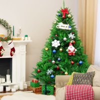 Costway 6Ft PVC Artificial Christmas Tree Encryption Premium Hinged w/ Metal Stand Green