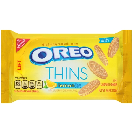 (2 Pack) Nabisco Oreo Thins Lemon Creme Sandwich Cookies, 10.1 oz