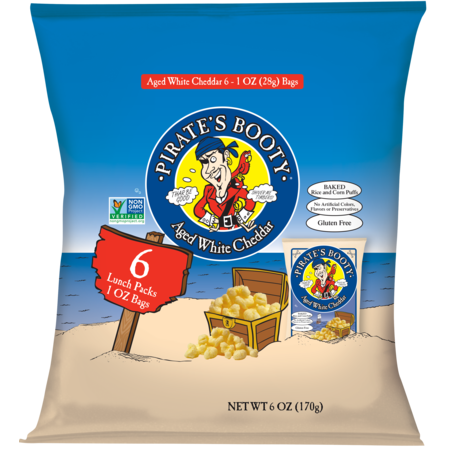 Pirate's Booty Baked Puffs, Aged White Cheddar, 6 bags, 1 Oz each, Allergen-Free, Gluten-Free, Non-GMO, No Artificial Ingredients, Healthy Snack