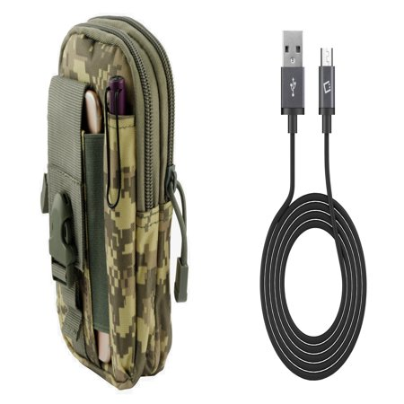 LG K20 M255 (AT&T) - Bundle: Tactical EDC MOLLE Utility Waist Pack Holder Pouch (ACU Camo), 2.0 USB-A to Micro USB Data Sync Charger Cable (3.3 Feet), Atom Cloth