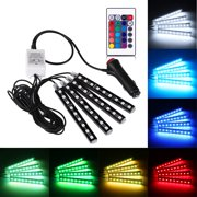 4PCS RGB Car Interior LED Strip Light 6W 36LEDs 5050 SMD Atmosphere Lamp Remote Control Decorative