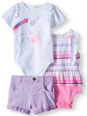 Ruffle Graphic Bodysuit, Stripe Babydoll Bodysuit & Denim Shorts, 3pc Outfit Set (Baby Girls)